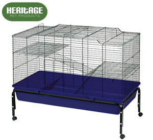 Heritage 100cm Rabbit Cage Large 2 Tier Indoor Guinea Pig Rodent Hutch AND Stand