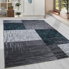 Moderner Kurzflor Teppich Karo geometrisch Grau Schwarz Turkis Meliert Wohnzim.