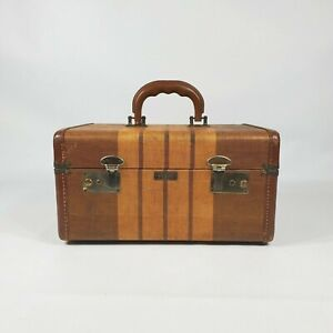Vintage Striped Tweed Train Brown Travel Case 1930s Old Antique Luggage Decor