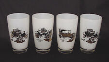 """SET OF FOUR Cased Glass """"ANTIQUE CARS"""" Tall Beverage Tumblers!"""