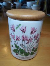 Portmeirion England BOTANIC GARDEN Plants Storage Jar w Lid Cyclamen 5 1/2 in
