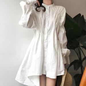 Womens Loose Oversize Asymmetric White Shirt Dress Long Sleeves Fashion Tops