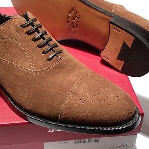 Ferragamo GOYA Suede Leather Cap Toe Brogue Oxford Mens Brown Dress Shoes Formal