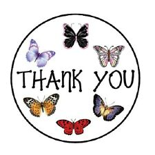 """48 Thank You Butterflies ENVELOPE SEALS LABELS STICKERS 1.2"""" ROUND"""