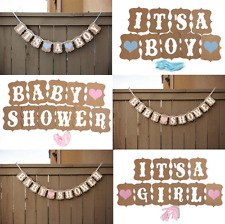 1 Set Pink Baby Shower Banner Bunting Garland Rustic Chic Party Decoration