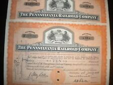 6 PENNSYLVANIA RAILROAD COMPANY STOCK CERTIFICATES 1940'S - FREE SHIPPING