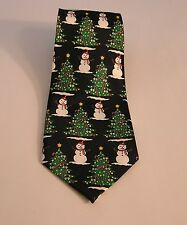 CHRISTMAS TREES IN ROWS WITH SNOWMEN POLYESTER MEN'S TIE NECKTIE