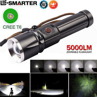 5000 Lumens XML T6 LED 5 Modes Flashlight Zoomable Waterproof 26650 Torch lamp