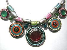 Statement Kette Ethno Boho mit bunten Scheiben + Perlen Tibetsilber Ayala Bar