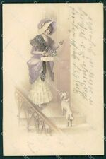 Christmas Greetings Lady and Dog CORNER CREASE Dondorf serie 176 postcard QT6377