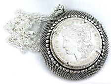 "1921 REAL MORGAN SILVER DOLLAR SILVER COLOR MESH PENDANT WITH SP ROPE 20"" CHAIN"