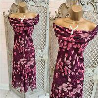 M & CO UK 14 Cranberry Glitzy Floral Print Floaty Chiffon Bias Midi Dress