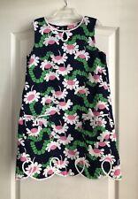 Lilly Pulitzer Girls Dress Size 10 Classic Shift Yum Yum Catipillar Floral Navy