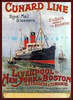 Cunard Line 1900 Liverpool To New York & Boston Ships Vintage Poster Print Art