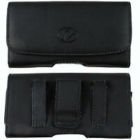 For LG Cell Phones Leather Sideways Belt Clip Case Pouch Cover Holster New