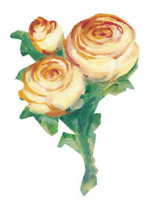 Yellow Rose Kates Roses Golden Gold 25 New Flower Wallies Stickers Cutouts Decal