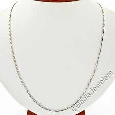 """14K White Gold 20"""" Fancy Polished Link Chain Necklace w/ Lobster Clasp 7.43g"""
