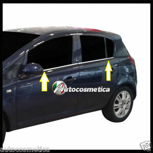 Opel Corsa D 5p 2006-2014 Strisce Cromate sotto finestrini acciaio cromati-
