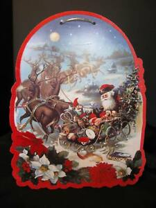 "MAGICAL Vintage Flocked Double Sided 15"" Die Cut Christmas Window Decoration"