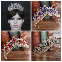 DV_ Bridal Tiara Wedding Hair Accessories Shining Rhinestones Crown Headband Cle
