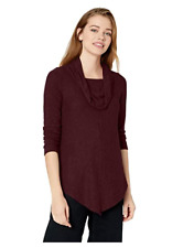 A. Byer Women's Cowl Neck Super-Soft Tunic Sweater with V Hemline, Raisin, Xl
