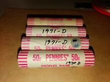 4 Rolls 1970 1971 D Obw Bu Unc Lincoln Cent Penny Peoria Illinois Bloomington