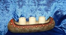 """RESIN AMERICAN INDIAN CANOE w/3 BATTERY POWERED CANDLES~10"""" L.~GREAT NIGHT LIGHT"""