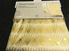 New Geometric Lines metallic gold Peva vinyl Shower Curtain~ frosty clear