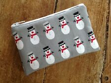 Handmade Coin Purse Christmas Snowman Gift Purse Grey