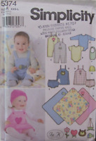 Simplicity 5374 Baby Clothes In K Designs Sewing Pattern Infant/'s Layette Dress Jumper Overalls Bib Panties Hat Blanket Size XXS-L Uncut FF