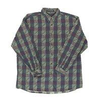 "Jhane Barnes Men XL 52"" Long Sleeve Button Shirt Cotton Abstract Cube Geometric"