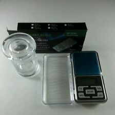 "Portable 0.01g - 200g Mini Digital Pocket Scale LCD + 3"" Herb Spice Glass Jar"