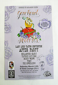 Gearhead Party Lady Luck Tattoo Convention Ltd. Ed Promo Poster 2010 Autographed