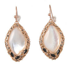 De Buman 18k Rose Gold Plated Mother-of-Pearl & Crystal Ladies Dangle Earrings