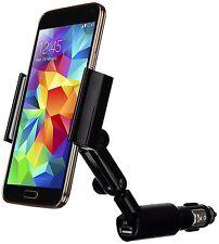 Luxa2 Universal Car Mount Phone Holder, Uses Cigarette Lighter Socket + USB Port
