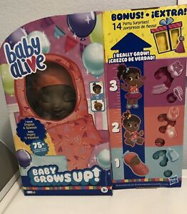 Baby Alive Baby Grows Up Bonus Pack, 14 Party Surprises! 75+ Sounds/phrases! NEW