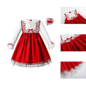 Red Kids Christmas Clothes Girls Lace Party Dress Autumn Dresses with Headband