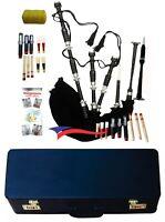 Scottish Great Highland Bagpipe Black Velvet Black Silver Chanter, Book, Bag/Box