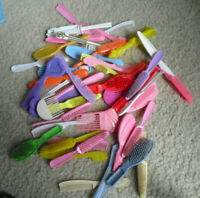Large Lot of Vintage Barbie Jem and Other Doll Hair Brushes