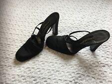 Donna Karan New York High Heel Sandals Size 8.5 Black Satin Made in Italy