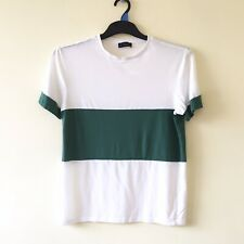 New Look Men T-Shirt S White Green Short Sleeve Crew Neck Cotton Chest 36-38''