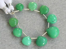 Natural Green Chrysoprase Faceted Heart Briolette Gemstone Beads 013