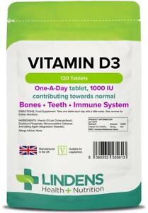 Vitamin D3 1000IU 120 Tablets Immune Health Lindens