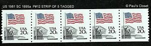 US 1985 PLATE #12 COIL STRIP OF 5 20¢ MNH OG TAGGED VERY FINE SEE PHOTOS