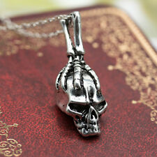 Fashion 925 Silver Men's Cool Punk Style Retro Jewelry Skull Necklace Pendant