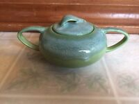 California Heritage Vernon Ware Green Blue Sugar Bowl and Lid 1947 - 1954