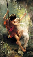 Oil painting Pierre-Auguste Cot - springtime young romantic lovers Swing canvas