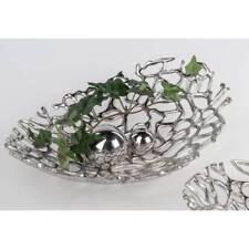 Dekoschale, Teller WILI KORALLE oval 30x20cm H. 6,5cm silber Aluminium Formano