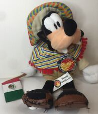 Authentic Vintage Disneyland Plush Toy Mexico Goofy Flag Sombrero Poncho Tags