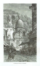 SANTA MARIA IN PORTICO, NAPOLI - Incisione Originale 1876 Naples